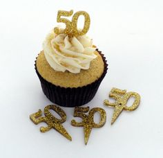 Gold Glitter Acrylic Cupcake Toppers  golden by BLINGYourNameHere, $10.00