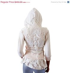 SPRING SALE Shabby Hoodie, Upcycled Clothing, Boho Romantic Off White Crochet Ruffles Lace, Recycled Repurposed Extra Small XS, Small on Etsy, $47.20 CAD