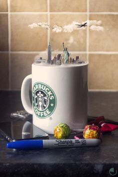 Creative Photo Manipulations Of Miniature Cities In Cups (Project Curator: Karen McDermott Photography/Image Editing: Jason McGroarty) http://minivideocam.com/r/photoedit