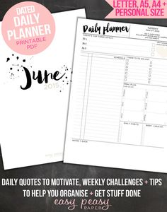 """Daily Planner Printable for June, day organizer, A4 daily planner, A5 daily planner, 8.5""""x11"""", Personal Day Planner  - chic student planner"""