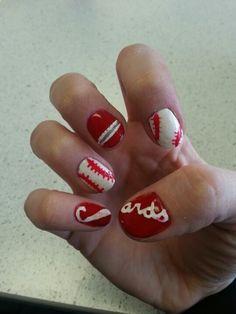 Opening season baseball nails...git cardinals! Baseball Nails, Cardinals, Nail Designs, Polish, Beauty, Varnishes, Nail Desings, Nail Design, Manicure