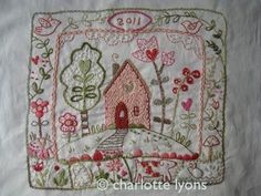 2012 redesigned LOVE-LY - stitchable embroidery sampler design printed on cotton. $10.00, via Etsy.