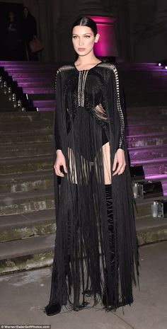 Work it: Bella Hadid showed off her model figure as she hit London's ELLE Style Awards 2016 at the Tate Britain on Tuesday night Bella Gigi Hadid, Bella Hadid Outfits, Bella Hadid Style, Rock Chic Outfits, Bella Hadid Pictures, Fashion Models, Fashion Outfits, Latex Fashion, Steampunk Fashion