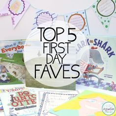 Top five favorite activities for the first day of school in second grade: read alouds for teaching routines, teaching R.E.S.P.E.C.T. behavior management, creating hopes and dreams banners, creating tear art self portraits and writing letters to each student. Enjoy back to school!