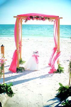 #pink beach wedding