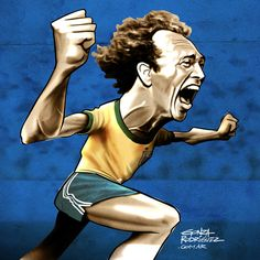 Caricatures of Brasil '82 players. Falcão's book by Gonza Rodriguez, via Behance