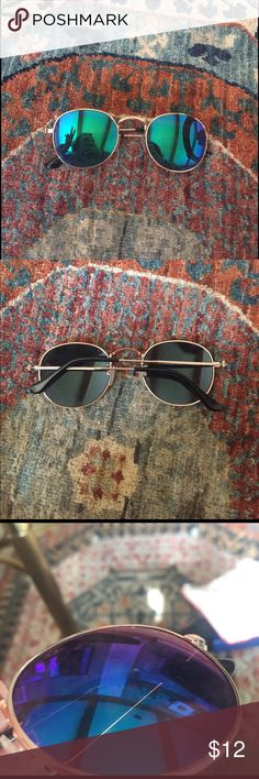 Asos Round Mirrored Sunglasses Has some scratches on the lenses and they don't sit flat exactly when folded up! Comes with a case! Make an offer! No trades! ASOS Accessories Sunglasses