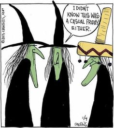 Witches have sense of humor! Halloween Humor, Halloween Cartoons, Theme Halloween, Fall Halloween, Halloween Witches, Homemade Halloween, Halloween Treats, Samhain, Funny Cartoons