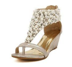 Dayiss Fashion Damen Keilabsatz Sandalen Strass Perlen Römersandalen Teep-Toe (EU 35/ Label 35, Gold)
