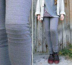 Gray striped cotton  fleece Leggings, knee pleated, biker style leggings