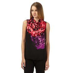 The Collection Black floral fold over collar top- at Debenhams.com