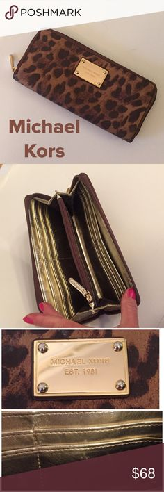 """Michael Kors Leather Wallet Standard size, zip around wallet in very good condition. A few scuff marks inside as shown on bottom or 3rd pic. Measures 8.5""""x 4.5"""". Priced to sell. Michael Kors Bags Wallets"""