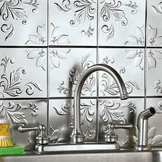 """Self Adhesive Decorative Silver Embossed Floral Tin Tiles - 6"""" X 6"""" (Set Of 16)"""