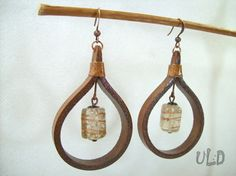Brown Leather earringsMurano glass by UniqueLeatherDesign on Etsy