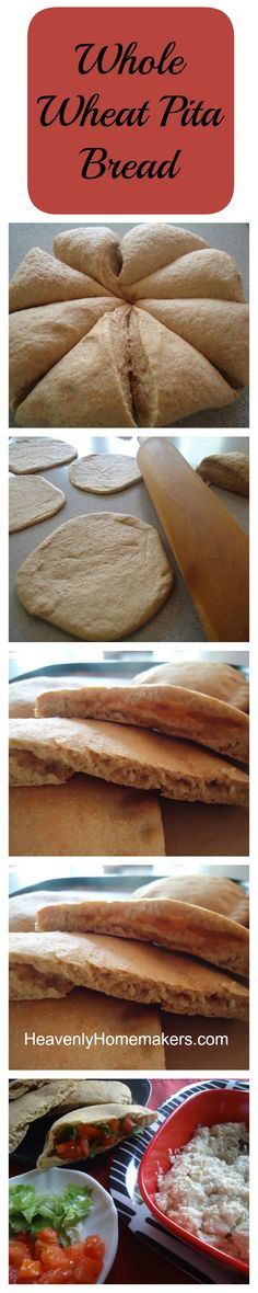Whole Wheat Pita Bread Recipe on Heavenly Homemakers at http://heavenlyhomemakers.com/homemade-whole-wheat-pita-bread
