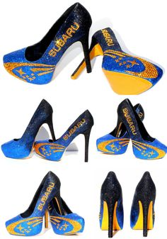 Subaru Rally Heels with Swarovski Crystals with by WickedAddiction, $165.00