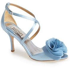 $175, Light Blue Satin Heeled Sandals: Badgley Mischka Gaby Satin Sandal. Sold by Nordstrom.