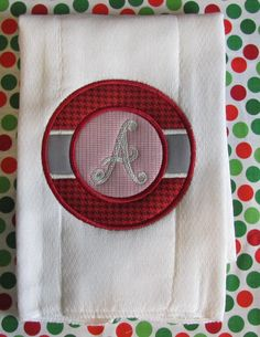 Circle Patch Appliqued and Embroidery Burp Cloth by fabricmom1, $10.00
