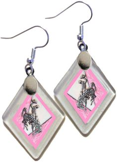 "Earrings ""Wyoming Bucking Horse & Rider(TM) in Pink"" from rescued, repurposed window glass~Licensed Product by OnceAWindow on Etsy"