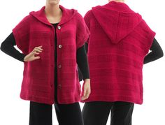 Hand knitted hooded sweater wrap alpaca mix in dark von classydress