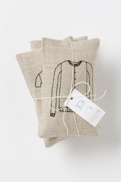 Anthropologie lavender sachets. Would be fun to make these and letterpress our own illustrations on them.