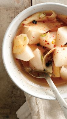 "Recipe: Pickled Pears  - ""We love the way these quickly pickled, supercrisp pears play off the briny and intense kimchi."""