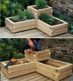 20 DIY Raised Garden Bed Ideas Instructions [Free Plans] - Planters - Ideas of Planters - DIY Corner Wood Planter Raised Garden DIY Raised Garden Bed Ideas Instructions garden planters x Etched Terra Cotta Planter White - Opalhouse™ Raised Herb Garden, Herb Garden Planter, Diy Garden Bed, Garden Boxes, Garden Pallet, Raised Gardens, Garden Ideas Diy, Patio Planters, Herbs Garden