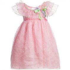 Lesy - Pink Silk Knee Length Dress | Childrensalon
