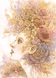 Detailed illustration in muted shades of rose, purple, and gold. Goddess Flora with her luscious crown of roses, orchids, hydrangea, and peony. This