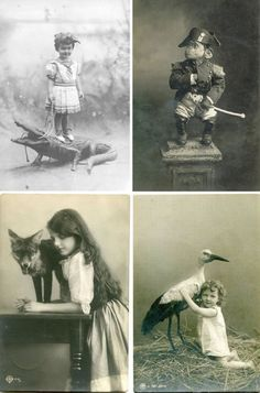 Antique portraits with taxidermy