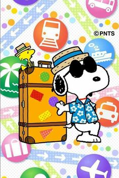 """""""Joe Cool"""" Snoopy and Woodstock traveling"""