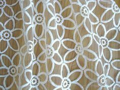 Off White Organza Lace Fabric with Embroidered Flowers by LaceFun,