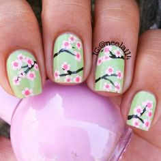 Would love to get this cherry tree nail art on natural nails/translucent ground! Cherry Blossom Nails, Cherry Nails, Cherry Blossoms, Super Cute Nails, Pretty Nails, Fun Nails, Funky Nail Art, Cool Nail Art, Tree Nails