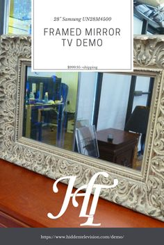 The Framed Mirror TV is the most popular item offered. The demo is just $999.95 to try and return so you can upgrade to the large unit. It is a quality investment to make to turn an eyesore into a masterpiece. The ultimate mirror tv experience starts with the highest quality mirror and framing. With over 300 frame choices, there is something for everyone. #samples #mirror #livingroom #bedroom #luxury #ideas