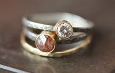 Hammered 14kt Rose Gold Stacking Ring  wedding band by LexLuxe, $112.00
