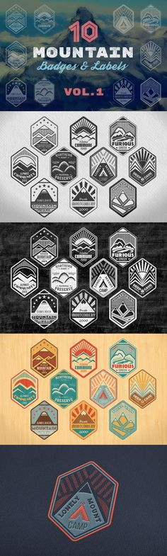 This collection of Mountain Badges vol.1 includes 10 unique badges and labels made on alpinist and mountain climbing outdoor activity thematic. Package comes with two monochromatic style badges and two bonus color variations #design Download: https://creativemarket.com/daseugen/373712-Mountain-Badges-vol.-1?u=ksioks