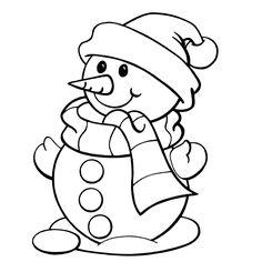 Leuk voor kids kleurplaat ~ Sneeuwpop met een sjaal