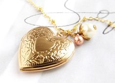 Heart locket necklace bridesmaid jewelry gold vintage locket