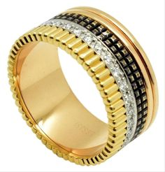 Boucheron   Quatre Classique Diamond 18K 3-Tone Gold Large Men's Ring Daily Fashion, Bangles, Bracelets, Rings For Men, Wedding Rings, Rose Gold, Classy, Engagement Rings, Gemstones