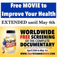 #repost #REPOST 'That Vitamin Movie' is where you can learn how high doses of vitamins can 'heal' your body.  In this Free movie you will learn how modern medicine is being used to put poisonous chemicals into already malnourished bodies. 'That Vitamin Movie' also goes on to tell us that thyroid Cancer is the fastest growing Cancer here in the U.S. Cancer of the breast is now occurring in 1 in 7 women and Cancer of the prostate is occurring in 1 in 3 men.  There is a coming medical tsunami…