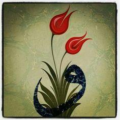 Çift Lale (Elif Aydın) Nakşı Ebru Sanat Atölyesi
