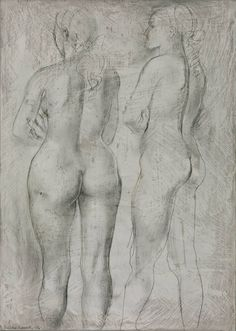 Two Figures with Folded Arms, 1947 by Barbara Hepworth (British 1903–1975)moil & drawing on wood 35.6 x 25.4 cm