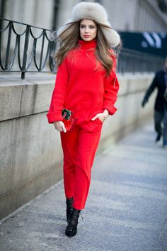 Xenia in a PINKO red total look during New York Fashion Week for My PINKO Experience - February 2016