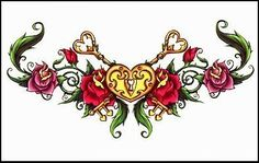 """Heart & Roses Temporaray Tattoo by Tattoo Fun. $3.95. This is a colorful lower back Temporary tattoo of a golden heart with two golden keys crossed behind it in the middle of a green swirled vine with a pink and red rose on either side of it. It measures approx 1 3/4"""" long x 4"""" wide."""