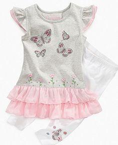 Flapdoodles Kids Set, Little Girls Butterfly Tunic and Leggings - Kids Girls 2-6X - Macy's