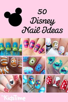 Create a Fairytale Look With 50 Fun and Easy Ideas For Disney Nails D. - Create a Fairytale Look With 50 Fun and Easy Ideas For Disney Nails Disney nail ideas - Disney Diy, Disney Toes, Nail Art Disney, Disney Manicure, Disney Nail Designs, Disney Toe Nails, Easy Disney Nails, Disney Halloween Nails, Disney Inspired Nails