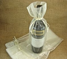 Organza Wine Bags  Ivory  Great for Wedding Wine by glassactsupply, $7.00