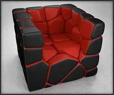 A chair made up of segments held together with magnets that can be rearranged to make new designs. A chair made up of segments held together with magnets that can be rearranged to make new designs. Funky Furniture, Unique Furniture, Furniture Design, Furniture Box, Black Furniture, Plywood Furniture, Bedroom Chair, Sofa Chair, Cave Chair