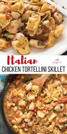 This Italian Chicken Tortellini Skillet is an en easy meal made completely in one pot — loaded with roasted red peppers, spinach, tomatoes, herbs and cheese! recipe dinner pasta chicken chickenbreast chickenrecipe one pot pasta Cheese Tortellini Recipes, Spinach Tortellini, Chicken Tortellini, Chicken Pasta Recipes, Recipe Pasta, Recipe Chicken, Tortillini Recipes, Snacks Sains, Al Dente