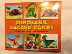 DINOSAUR LACING CARDS for ages 3 and up Boys & Girls 2005 Back Pack Books #BackPackBooks